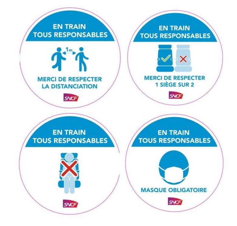Ces pastilles apparaîtront dans les gares et les trains aquitains. / © Région Nouvelle-Aquitaine et SNCF