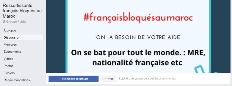 Un des groupes Facebook créés par des français bloqués au Maroc pour faire entendre leur voix. / © Capture d'écran Facebook