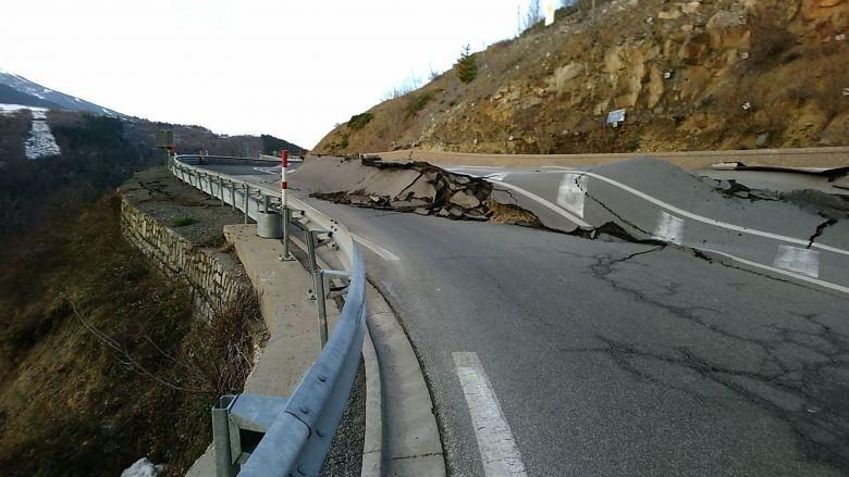 Pyrénées-Orientales - La RN 116 lors du mouvement de terrain - 04.02.20 / © DR