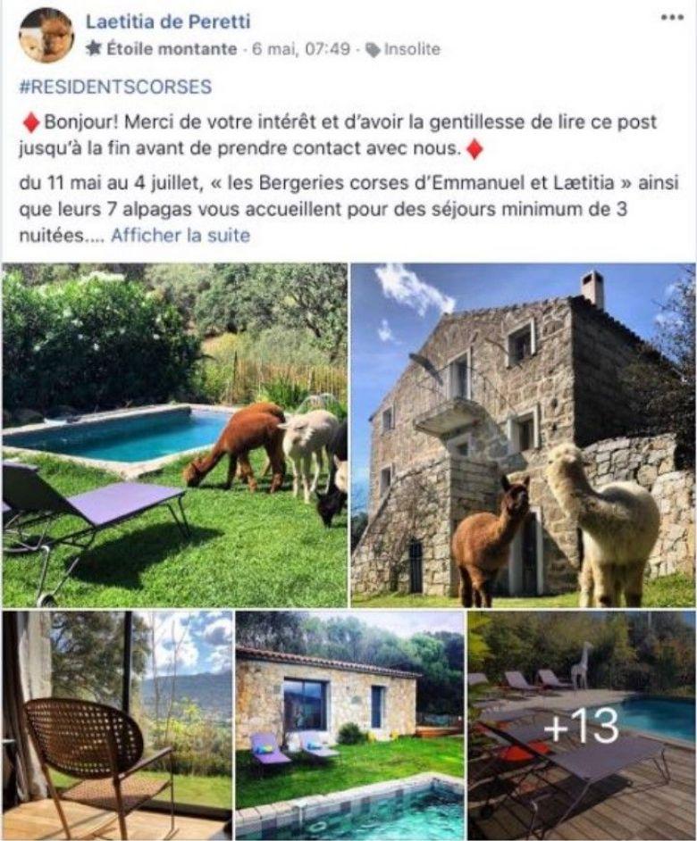 Sur le groupe Facebook Cet été je re-découvre mon île, la plupart des professionnels font un geste en faveur des résidents corses. / © Capture d'écran Facebook