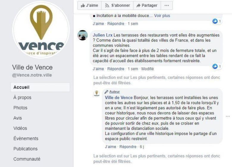 Echanges en ligne entre restaurateurs et mairie de Vence. / © DR