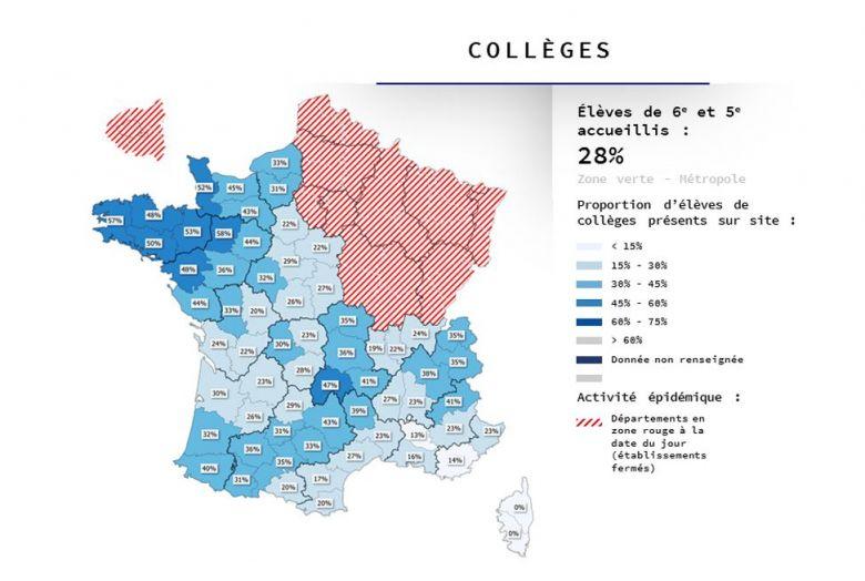 La Corse est la seule région, classée vert quant à l'évolution de l'épidémie de Coronavirus, à garder ses collèges fermés. / © Ministère de l'Education nationale.