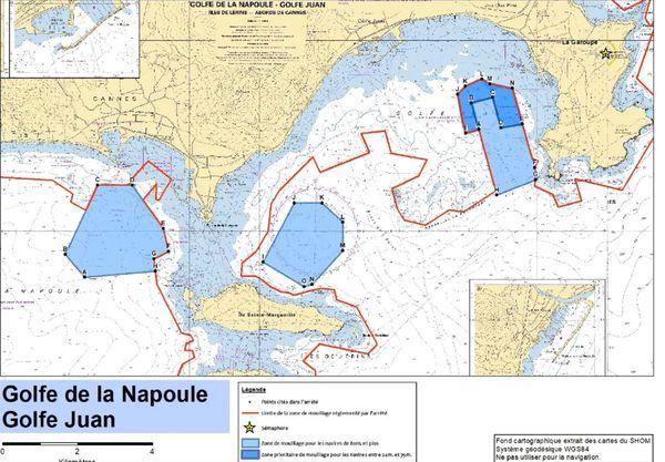 Les bateaux de plus de 24m ne pourront jeter l'ancre qu'au delà de la ligne rouge indiquée sur cette carte
