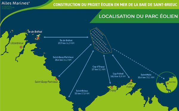 Localisation du Parc éolien en Baie de St-Brieuc