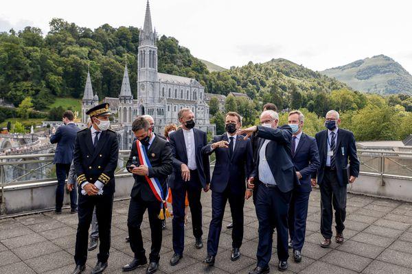 Lourdes (Hautes-Pyrénées) - Emmanuel Macron en visite à la Cité mariale - 16 juillet 2021.