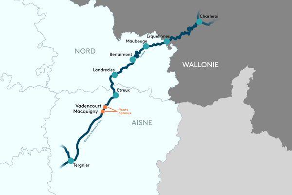 Le canal de la Sambre et les travaux effectués sur les ponts canaux à Vadencourt et Macquigny